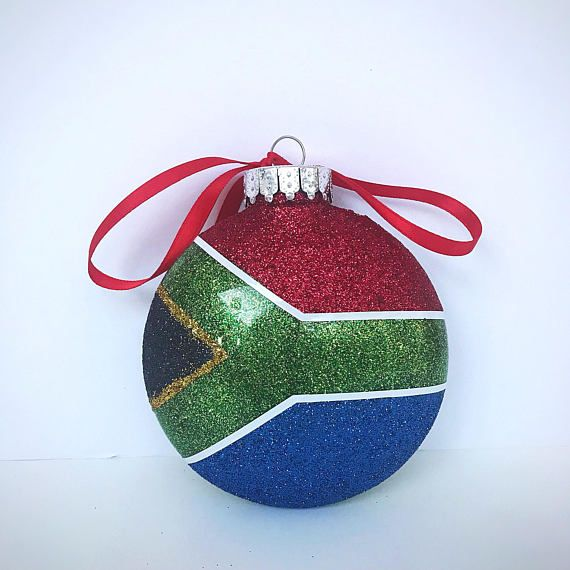 South African Flag Plastic Christmas Ornament South Africa South African Ornament South African Flag Suid Afrika South African Flag African Christmas African Flag