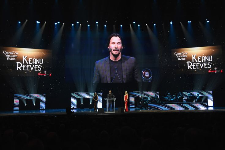 2016 April 14th.  Keanu Reeves accepts Vanguard Award during CinemaCon Big Screen Achievement Awards by the Coca-Cola Company at The Colosseum at Caesars Palace during CinemaCon, the official convention of the National Association of Theatre Owners, on April 14, 2016 in Las Vegas, Nevada.