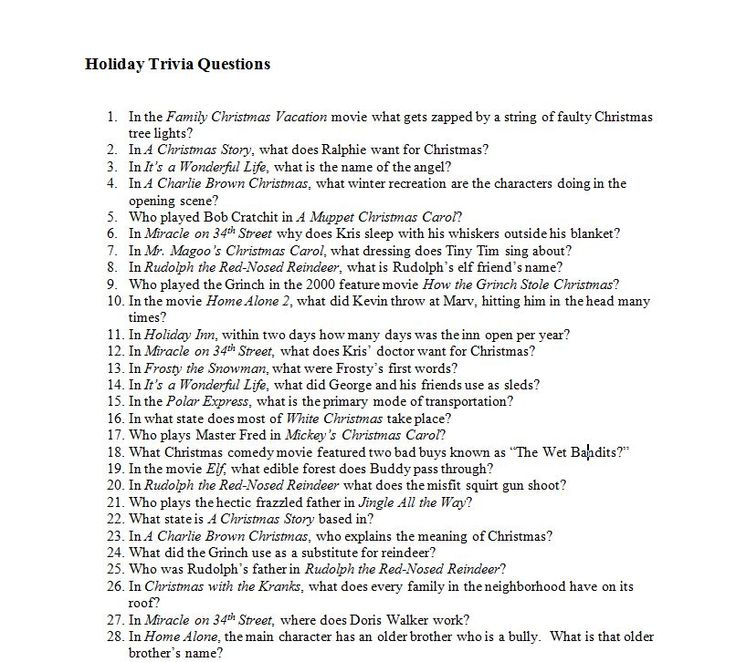 Year-end Holiday Trivia Quiz: During December there are numerous holiday-themed programs and movies broadcast. Teenagers enjoy watching them and being quizzed on their knowledge. This is a fun collection of 30 trivia questions (and answers) based upon popular holiday programming your students will enjoy. It might also be fun to post in the teacher's lounge!