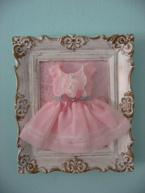 Girl bedroom wall frame. Use her old infant dress to frame when shes a little girl, @Jenna Nelson Brown