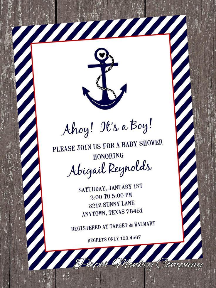 10 best Impressive Nautical Baby Shower Invitations Design images on ...