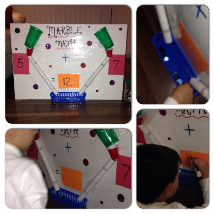 """Marble math"" Made with foam board, plastic cups, cardboard rolls and a plastic bin!"