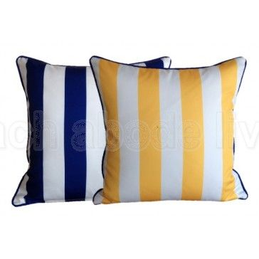 A touch of the Greek Islands right here. Imagine relaxing on a sunlounge by the Pool in Mykonos surrounded by these gorgeous OUTDOOR STRIPE Cushions in MYKONOS BLUE and YELLOW stripes from beachabodeliving.com.au