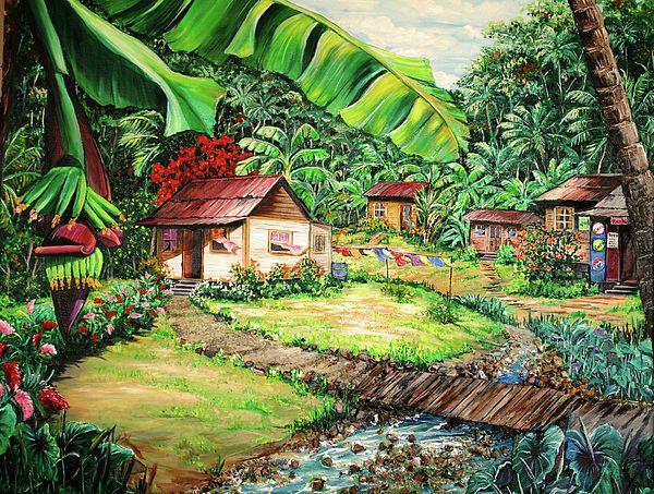 Caribbean Village Life Art Print By Karin Dawn Kelshall Best