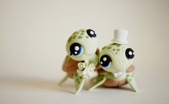 Turtle Wedding Cake Topper by TopThatCakeOff on Etsy