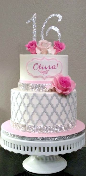 Sparkly Sweet 16 Cake