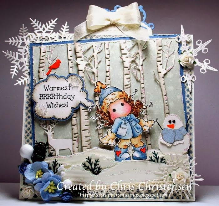This is my card for the current Celebrations Challenge at Magnolia-licious! I love this little Tilda and thought she needed a scene around her! For more information, please visit my blog - http://ascrappersmusings.blogspot.com