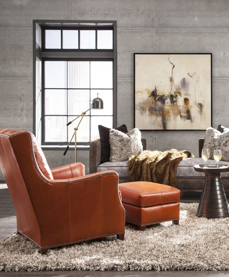 This looks so inviting and comfy - 7266-50 chair and ottoman from Huntington House, shown in a gorgeous burnt orange leather!