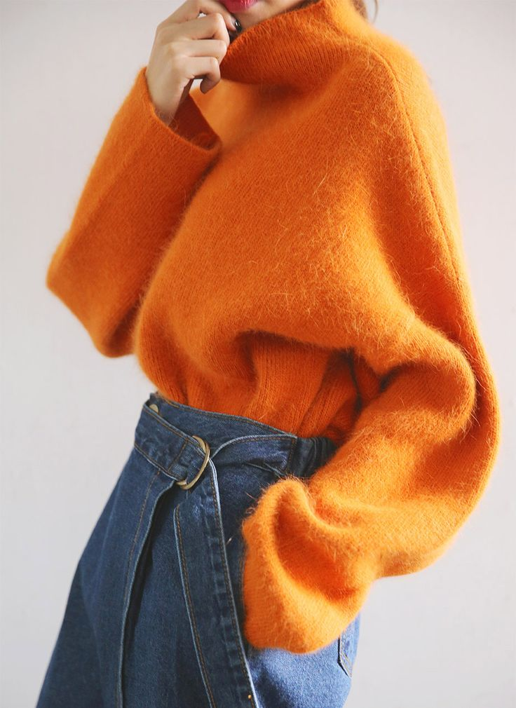 Funnel Neck Sweater (Orange) | STYLENANDA                              …
