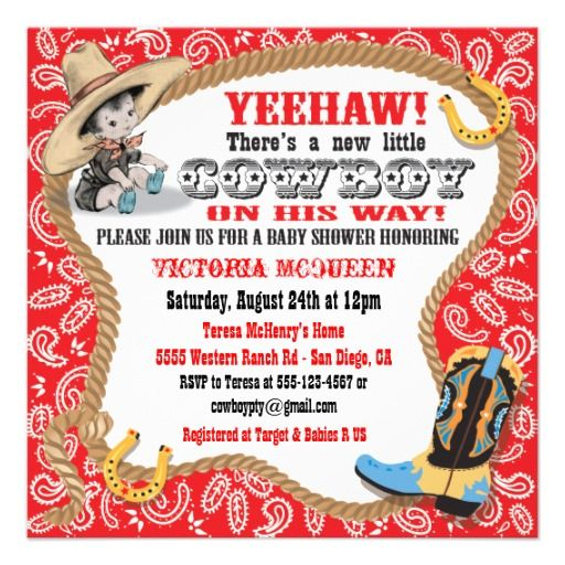 350 best Cowboy Baby Shower Invitations images on Pinterest Baby