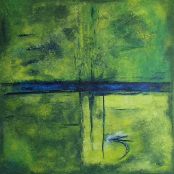 Maleri: Fly (solgt)  Åen og fluefiskeri var inspirationen hertil. Solens stråler i vandet giver mange farver