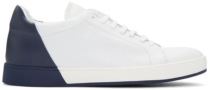 Jil Sander - White & Navy Leather Sneakers - nice mens shoes brands, mens shoes for sale, mens saddle shoes