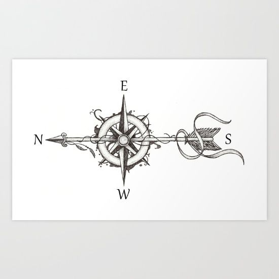 "Work based in tattoo style. A compass surrounded by shadows is pierced by an arrow. Two feathers blowing in the wind. This design represents the transience of time. based on the phrase ""Carpe Diem"" (Seize the moment)."