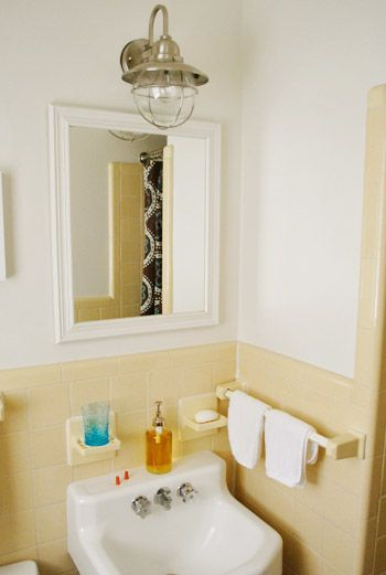 use outdoor light for bathroom light fixture!