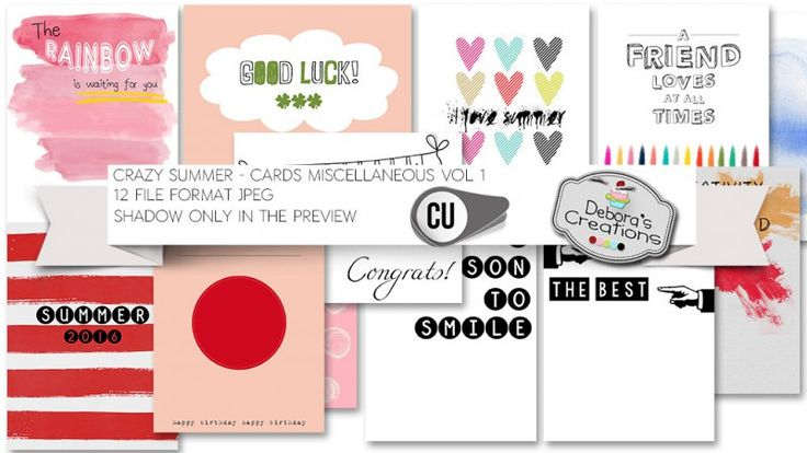 Crazy Summer Cards Miscellaneous Vol 1 by Debora's Creations (CU