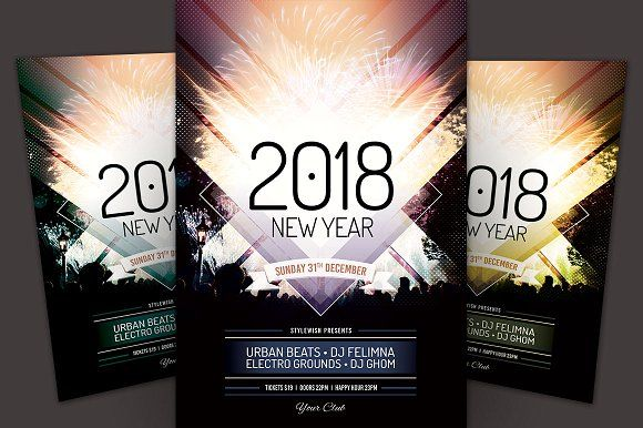 New Year Flyer Template by styleWish on @creativemarket