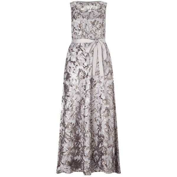 Studio 8 Mercury Maxi Dress, Silver ($390) ❤ liked on Polyvore featuring dresses, floral maxi dresses, sequined dresses, floral dresses, plus size sequin dress and sleeved maxi dress