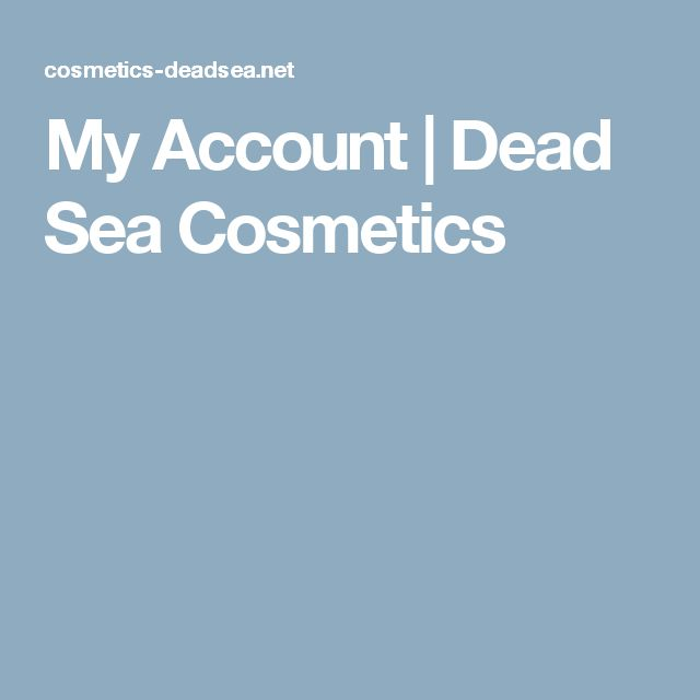 My Account | Dead Sea Cosmetics