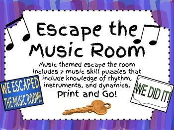"""In this """"Escape the Room"""" themed packet you will find everything you need to set up an escape the music room experience for your students! There are 7 music knowledge based puzzles including rhythmic math, rhythm ordering, instrument ordering, dynamic terms, and overall musical knowledge."""