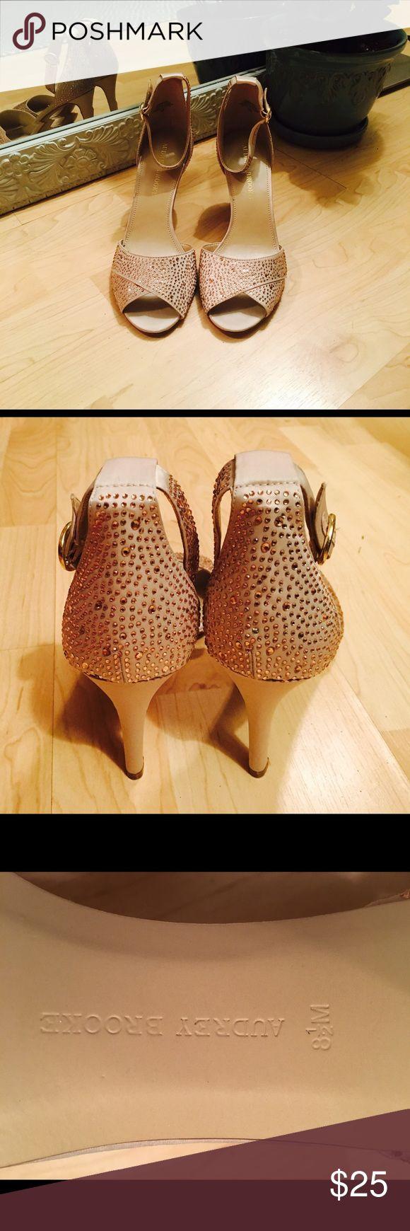 Audrey Brooke Sparkle Pumps Sparkly ankle strap peek toe pumps. Unused, never worn. Peach rhinestones, champagne colored. Audrey Brooke Shoes Heels