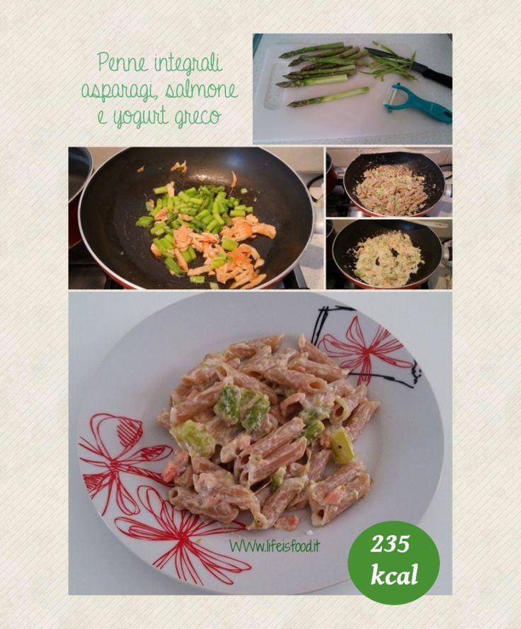 Penne integrali asparagi, salmone e yogurt greco