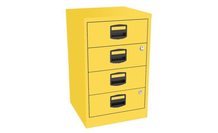 #Archivador Bisley 4 cajones, acero pintado color amarillo, c/ llaves. #SurDiseño y #Mueblessur