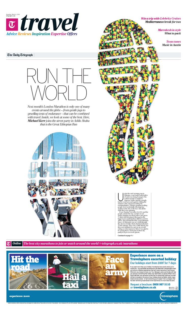 Daily Telegraph Travel Front Run The World London Marathon Is Only One Of  Many Events Around