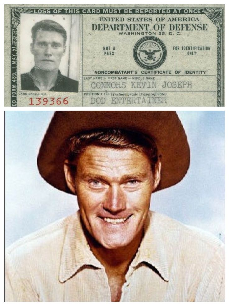 Chuck Connors (born Kevin Joseph Connors; April 10, 1921 – November 10, 1992) was an American actor, writer and professional basketball and baseball player. During World War II (1939–45), he enlisted in the Army at Fort Knox, Kentucky, and spent most of the war as a tank-warfare instructor at Fort Campbell, Kentucky and later at West Point, New York. Military ID 5/01/51 ''The Rifleman'' ABC TV 1958-63 p