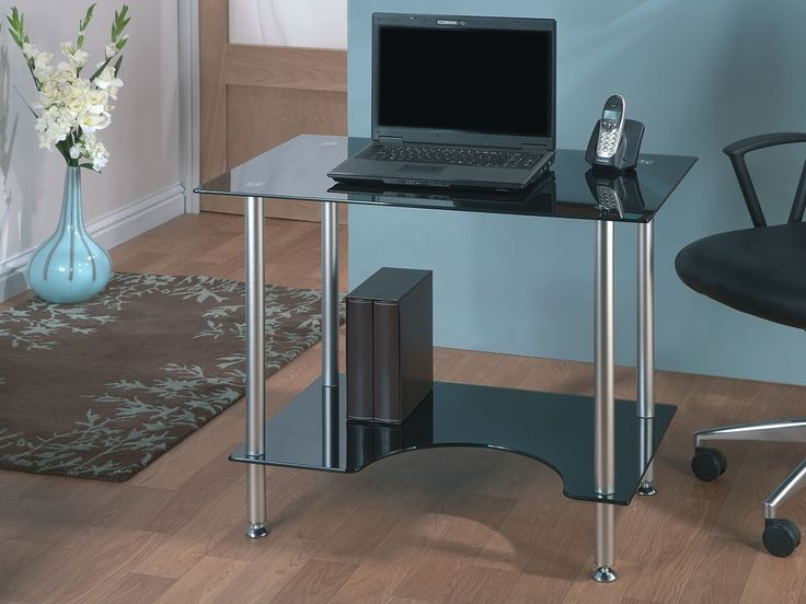 Jual Furnishings PC005 Compact Black Glass Computer Desk. A elegant and  modern looking compact Piano