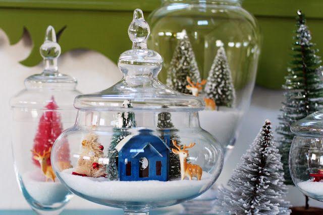 snowy village in candy jars