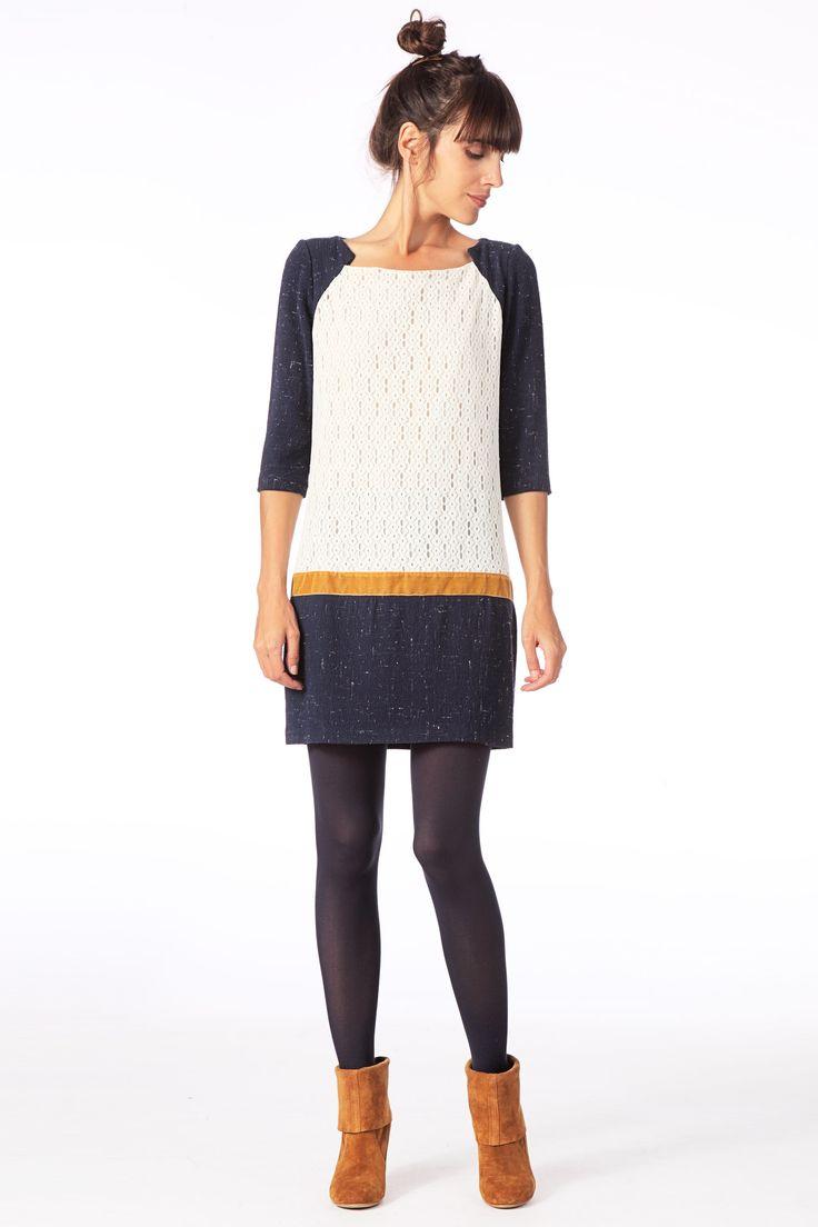Robe en crochet et crêpe Youtoo Marine/Ecru/Moutarde Ba sur MonShowroom.com Taille 1