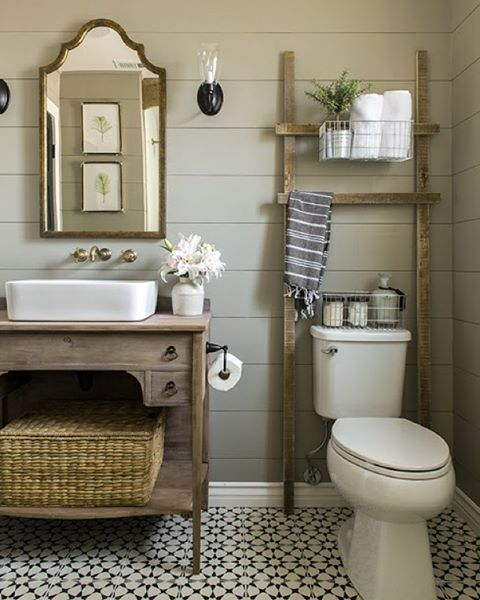 In stock Agadir White Pattern in this bathroom remodel by @jennasuedesign for the One Room Challenge. #cementtileshop #cementtiles #cementtile #concretetile #hydraulictile #encausticcementtile #encaustictile #cubantile #mexicantile #oneroomchallenge #callingithome #handmadetile #patternedtile #moroccantile #moroccan #jennasuedesign #blackandwhitetile #blackandwhite