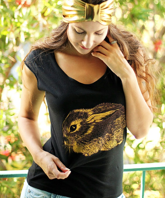 Baby Cottontail Rabbit tshirt   ecofriendly gold and by NYhop, $28.00