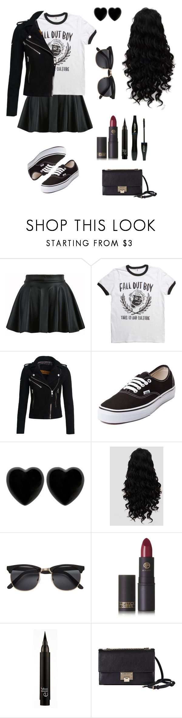 """""""Fall Out Boy"""" by an-internet-girl ❤ liked on Polyvore featuring Superdry, Vans, Dollydagger, Lipstick Queen, Lancôme, Jimmy Choo, music, fandom and falloutboy"""