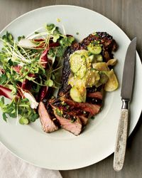 Grilled Steak with Cucumber-and-Daikon Salad: Salad Recipes, Steaks Dishes, Steaks Recipe, Grilled Steaks, Cucumber Recipe, Cucumber Salad, Outdoor Grilled, Cooking Recipes, Cucumber And Daikon Salad