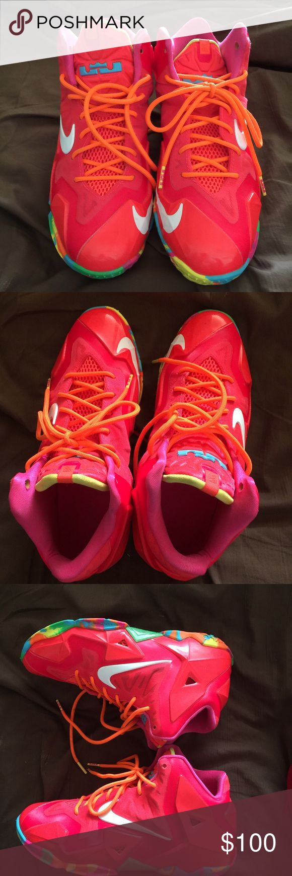 "Lebron ""fruity pebbles"" Condition 9.9/10 only worn a few times. Size 6.5 in boys, 8 in women Nike Shoes Athletic Shoes"