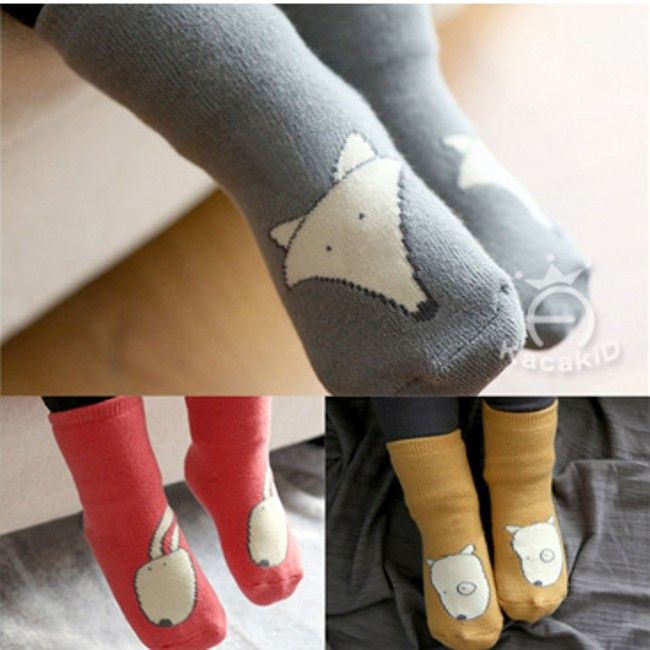 EMS/ DHL Free Shipping 2015 Autumn Winter Baby Kacakid Children Cartoon Cute Fox Dog Rabbit Little Paws Infant Non Skid Socks