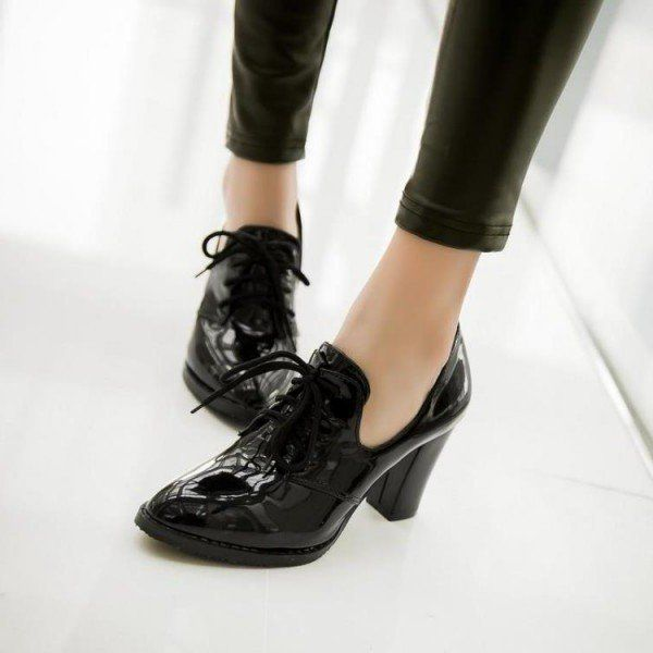 Black Patent Leather Oxford Heels Lace up Chunky Heel
