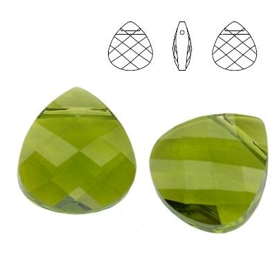 6012 Flat Briolette 11,0x10,0mm Olivine  Dimensions: 11,0 x 10,0 mm Colour: Olivine 1 package = 1 piece