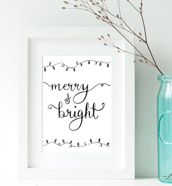 Merry and Bright Print Digital Download Art / Hand Lettered Christmas Gift / Gift for Mother / Gift for Her / Art Print, Home Decor Wall Art