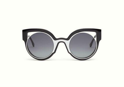 Fendi Paradeyes sunglasses with cat-eye optyl frame in black and white