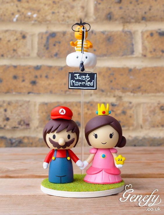 Cute Wedding Cake Toppers - Mario, Luigi and Princess Peach