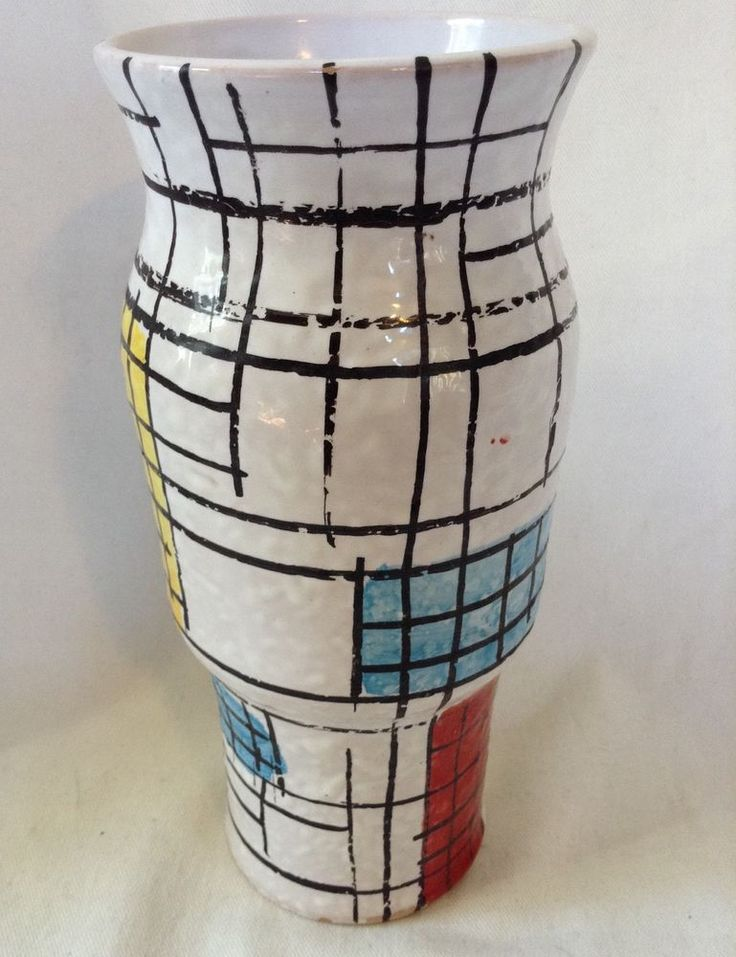 Vase Mid Century Ceramic Art Pottery Geometric Design