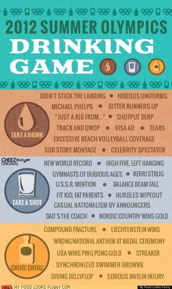 "olympics drinking game! my default is to drink anytime an announcer says anything that could be followed by ""that's what she said"""