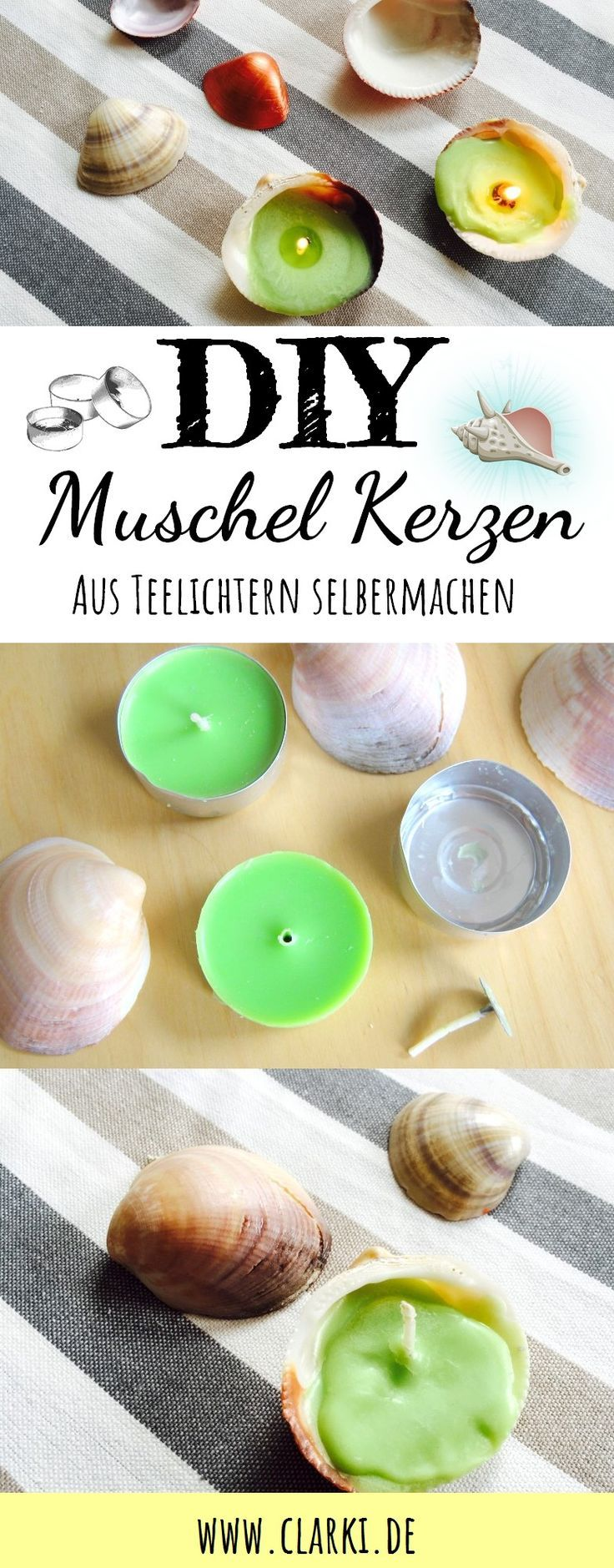 DIY decoration with shells: making tealights and copper shells yourself