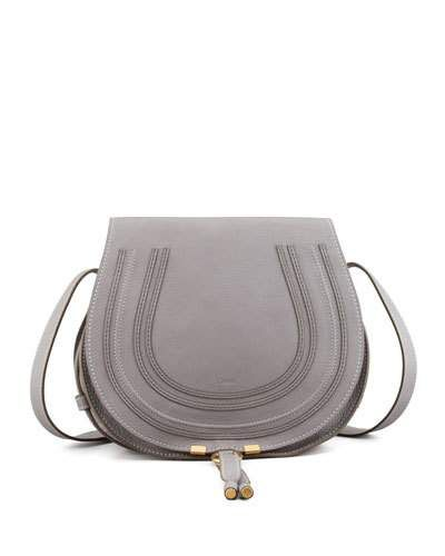 V1MY1 Chloe Marcie Medium Leather Crossbody Bag, Gray