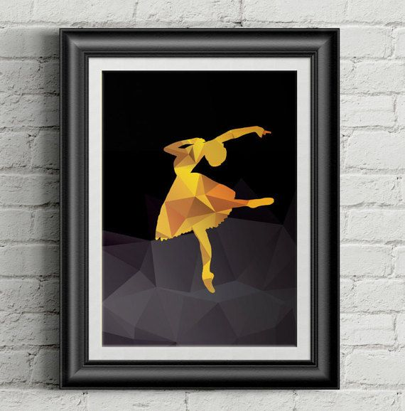 Ballerina in yellow hued polygons on black background- decorative digital printable wall art - ready to frame  If you love dancing or to watch