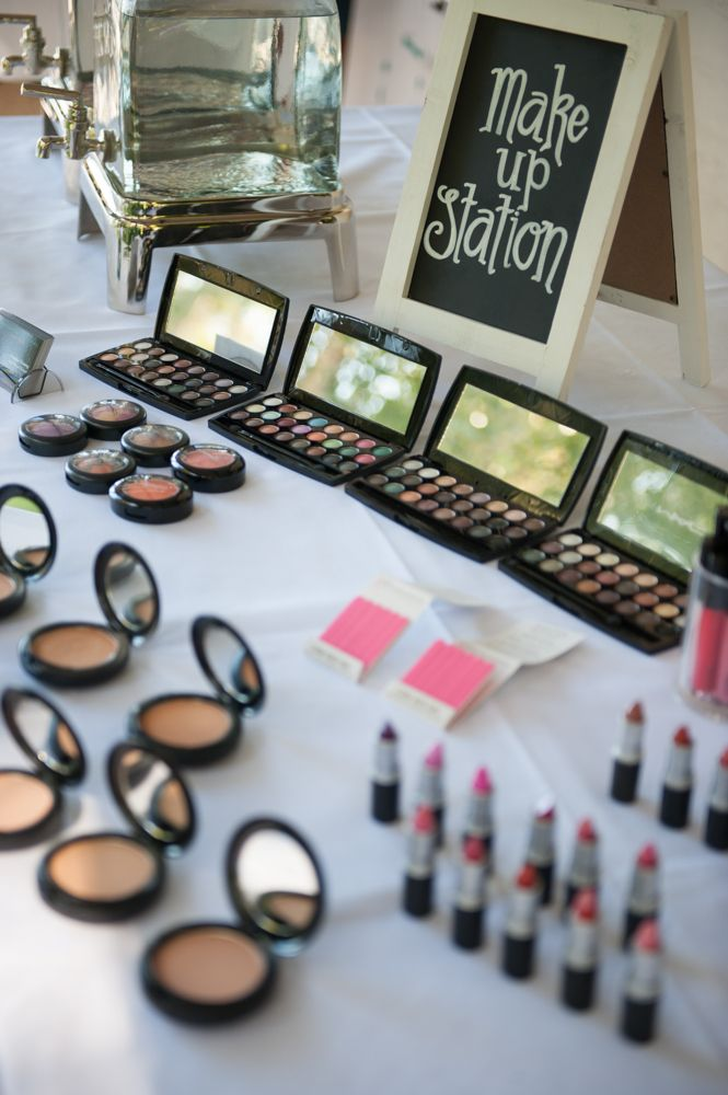 Makeup stand for guests to refresh and stay looking amazing all day long! http://www.evokeweddings.com.au makeup by Emerald nails and beauty.