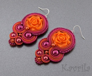 K Avril - Jewellery author. soutache Orange Rose Earrings. length 7cm