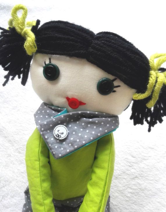 Handmade Rag doll ooak cloth rag doll with green and by Mehowka